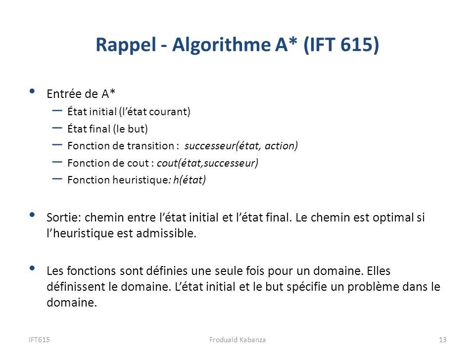 IFT61513Froduald Kabanza Entrée de A* – État initial (létat courant) – État final (le but) – Fonction de transition : successeur(état, action) – Fonct