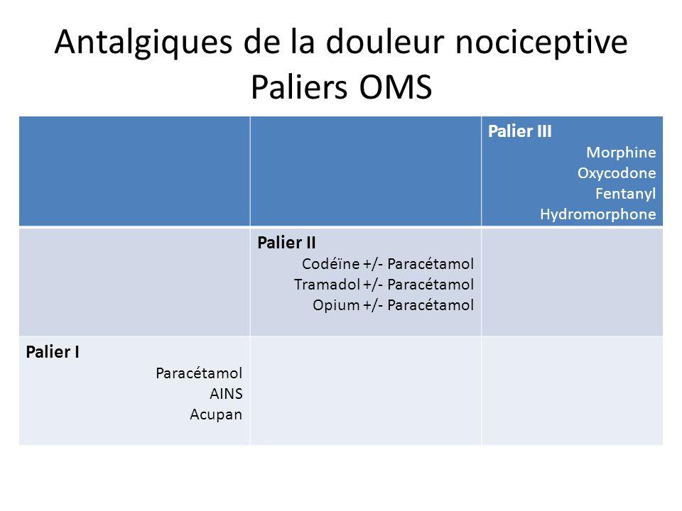 Opioïdes « forts » ou niveau III Prescription : - en cas dinefficacité dun traitement par antalgiques niveau II.