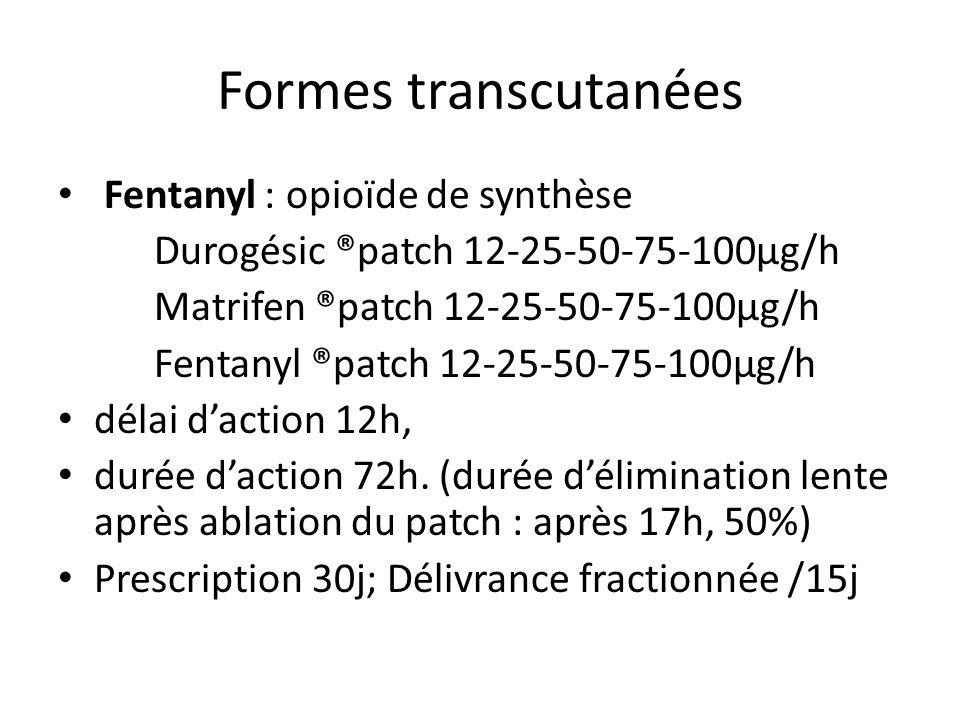 Formes transcutanées Fentanyl : opioïde de synthèse Durogésic ®patch 12-25-50-75-100µg/h Matrifen ®patch 12-25-50-75-100µg/h Fentanyl ®patch 12-25-50-