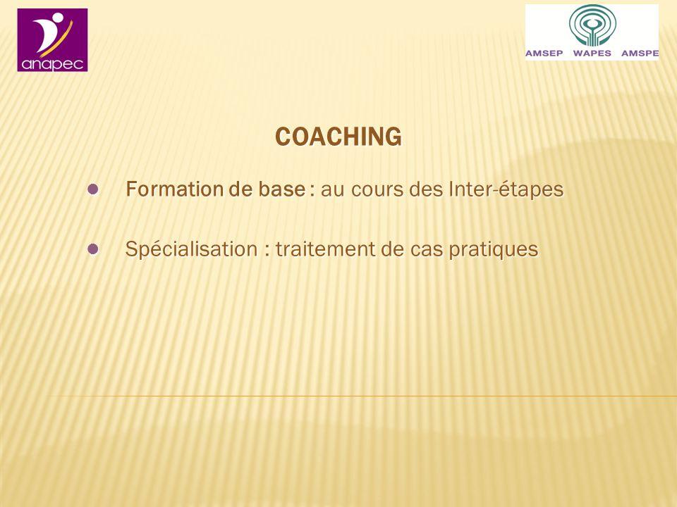 COACHING Formation de base : au cours des Inter-étapes Formation de base : au cours des Inter-étapes Spécialisation : traitement de cas pratiques Spécialisation : traitement de cas pratiques