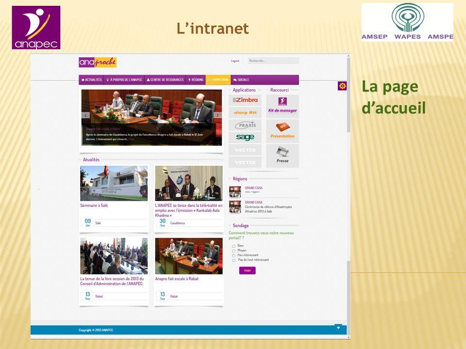 Lintranet La page daccueil