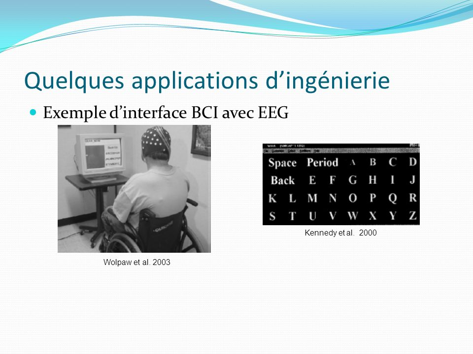 Quelques applications dingénierie Exemple dinterface BCI avec EEG Kennedy et al.