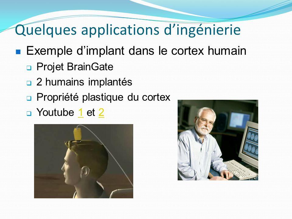 Quelques applications dingénierie Exemple dimplant dans le cortex humain Projet BrainGate 2 humains implantés Propriété plastique du cortex Youtube 1