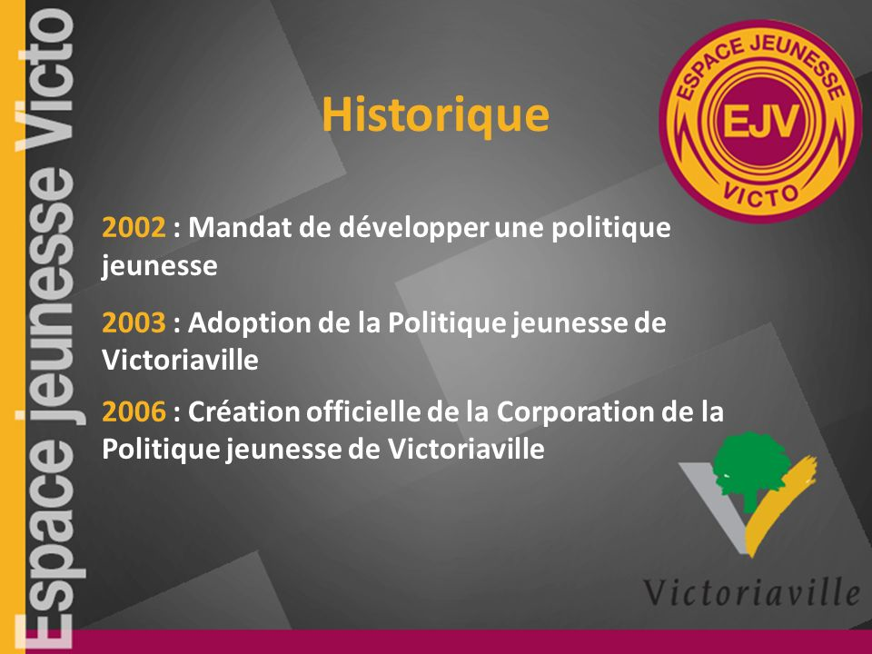 Historique 2002 : Mandat de développer une politique jeunesse 2003 : Adoption de la Politique jeunesse de Victoriaville 2006 : Création officielle de la Corporation de la Politique jeunesse de Victoriaville