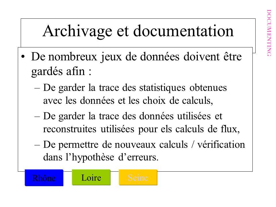 Archivage et documentation De nombreux jeux de données doivent être gardés afin : –De garder la trace des statistiques obtenues avec les données et le