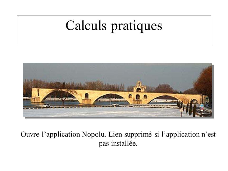 Calculs pratiques Ouvre lapplication Nopolu. Lien supprimé si lapplication nest pas installée.