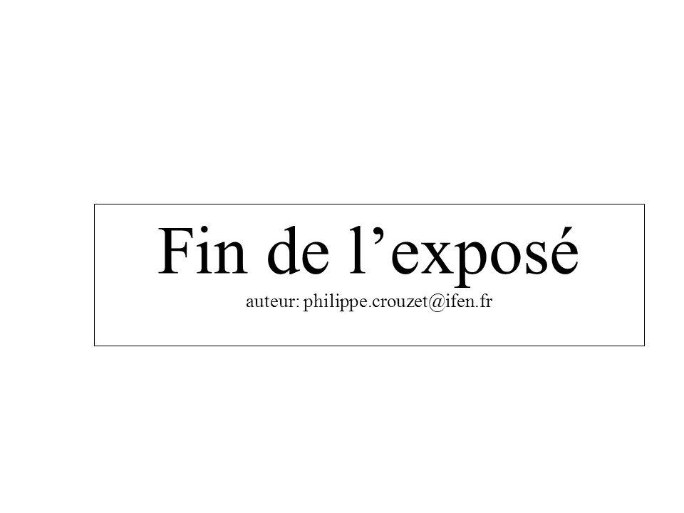 Fin de lexposé auteur: philippe.crouzet@ifen.fr