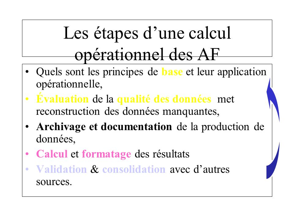 Évaluation des données (1) La première étape consiste à définir quelle est la typologie de calcul du flux, en considérant les positions respectives du point de restitution, du point « qualité et du point de débit.