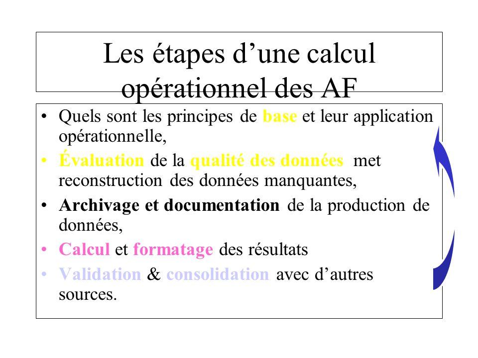 Les étapes dune calcul opérationnel des AF Quels sont les principes de base et leur application opérationnelle, Évaluation de la qualité des données met reconstruction des données manquantes, Archivage et documentation de la production de données, Calcul et formatage des résultats Validation & consolidation avec dautres sources.