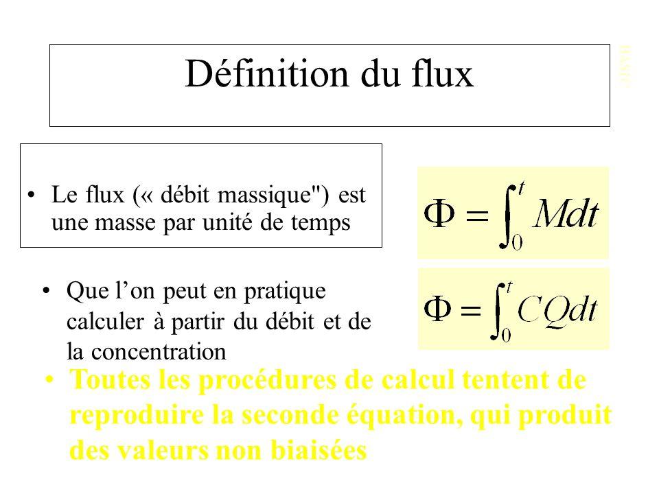 Définition du flux Le flux (« débit massique ) est une masse par unité de temps BASIC Que lon peut en pratique calculer à partir du débit et de la concentration Toutes les procédures de calcul tentent de reproduire la seconde équation, qui produit des valeurs non biaisées