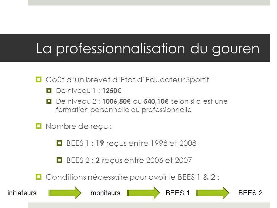 La professionnalisation du gouren Coût dun brevet dEtat dEducateur Sportif De niveau 1 : 1250 De niveau 2 : 1006,50 ou 540,10 selon si cest une format