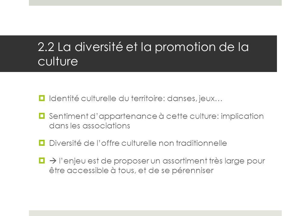 2.2 La diversité et la promotion de la culture Identité culturelle du territoire: danses, jeux… Sentiment dappartenance à cette culture: implication d