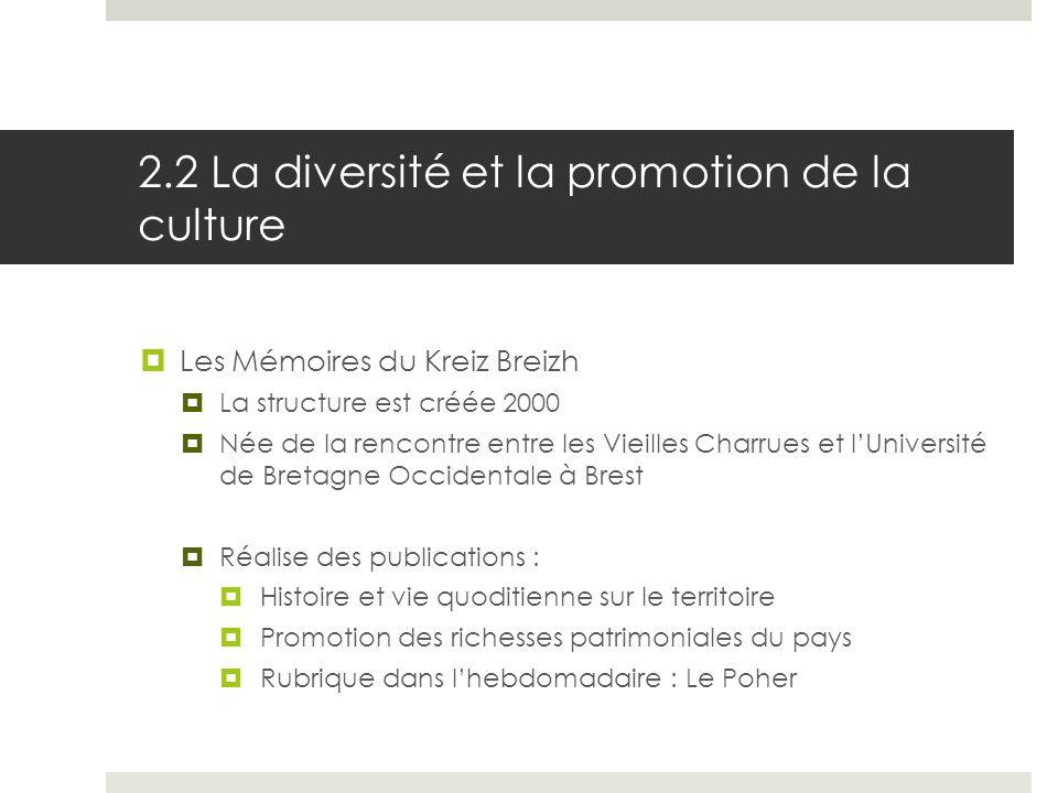2.2 La diversité et la promotion de la culture Les Mémoires du Kreiz Breizh La structure est créée 2000 Née de la rencontre entre les Vieilles Charrue