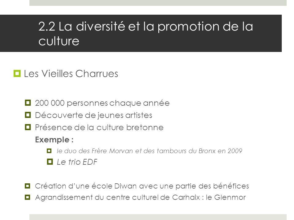 2.2 La diversité et la promotion de la culture Les Vieilles Charrues 200 000 personnes chaque année Découverte de jeunes artistes Présence de la cultu