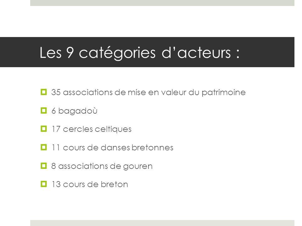 Les 9 catégories dacteurs : 35 associations de mise en valeur du patrimoine 6 bagadoù 17 cercles celtiques 11 cours de danses bretonnes 8 associations