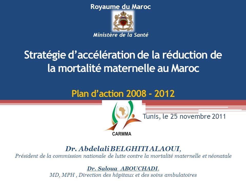 Stratégie daccélération de la réduction de la mortalité maternelle au Maroc Plan daction 2008 - 2012 Dr. Abdelali BELGHITI ALAOUI, Président de la com