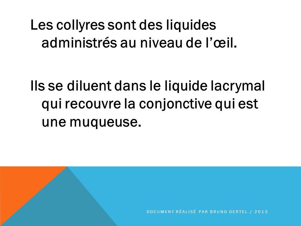 Les collyres sont des liquides administrés au niveau de lœil. Ils se diluent dans le liquide lacrymal qui recouvre la conjonctive qui est une muqueuse