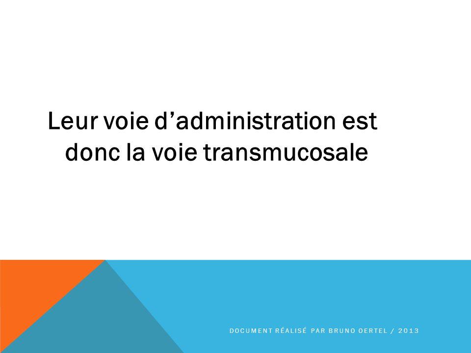Leur voie dadministration est donc la voie transmucosale DOCUMENT RÉALISÉ PAR BRUNO OERTEL / 2013