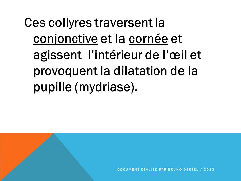Ces collyres traversent la conjonctive et la cornée et agissent lintérieur de lœil et provoquent la dilatation de la pupille (mydriase). DOCUMENT RÉAL