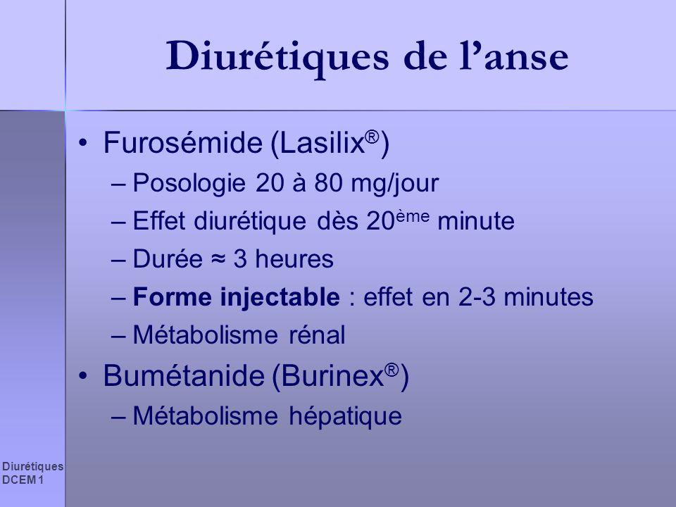 Diurétiques DCEM 1 Diurétiques de lanse Furosémide (Lasilix ® ) –Posologie 20 à 80 mg/jour –Effet diurétique dès 20 ème minute –Durée 3 heures –Forme