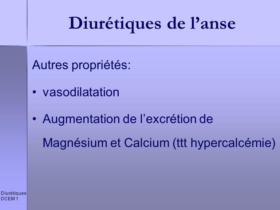 Diurétiques DCEM 1 Diurétiques de lanse Autres propriétés: vasodilatation Augmentation de lexcrétion de Magnésium et Calcium (ttt hypercalcémie)