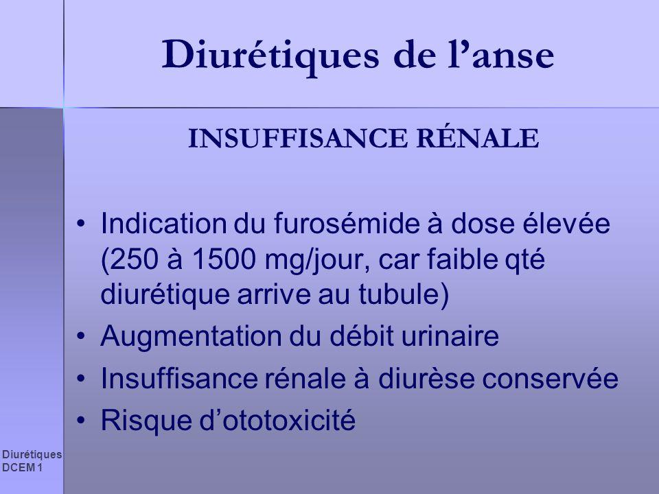 Diurétiques DCEM 1 Diurétiques de lanse INSUFFISANCE RÉNALE Indication du furosémide à dose élevée (250 à 1500 mg/jour, car faible qté diurétique arri