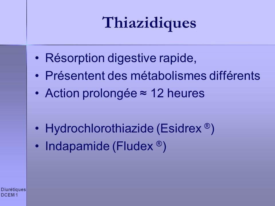 Diurétiques DCEM 1 Thiazidiques Résorption digestive rapide, Présentent des métabolismes différents Action prolongée 12 heures Hydrochlorothiazide (Es
