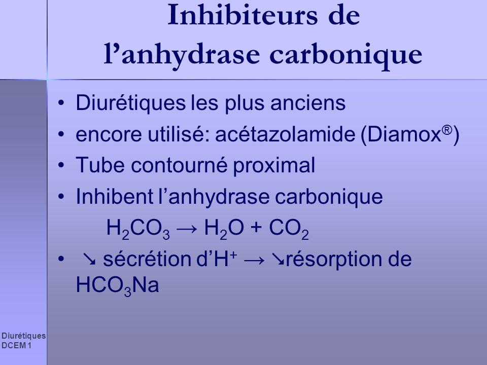 Diurétiques DCEM 1 Inhibiteurs de lanhydrase carbonique Diurétiques les plus anciens encore utilisé: acétazolamide (Diamox ® ) Tube contourné proximal