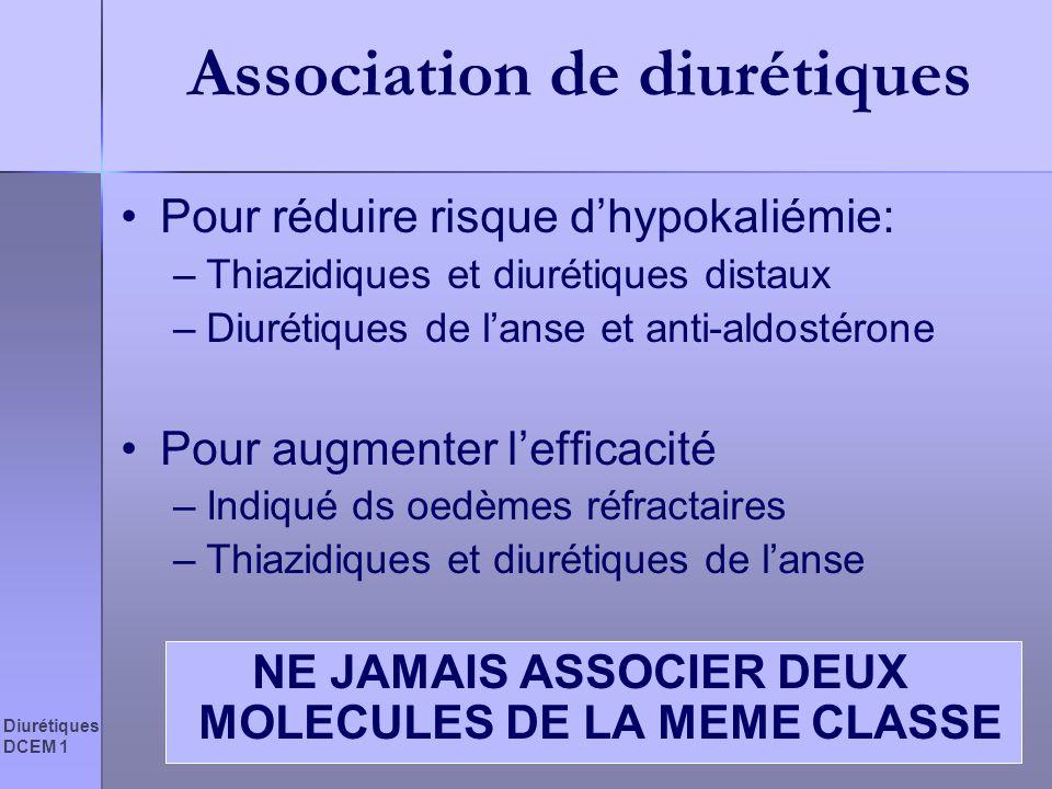 Diurétiques DCEM 1 Association de diurétiques Pour réduire risque dhypokaliémie: –Thiazidiques et diurétiques distaux –Diurétiques de lanse et anti-al