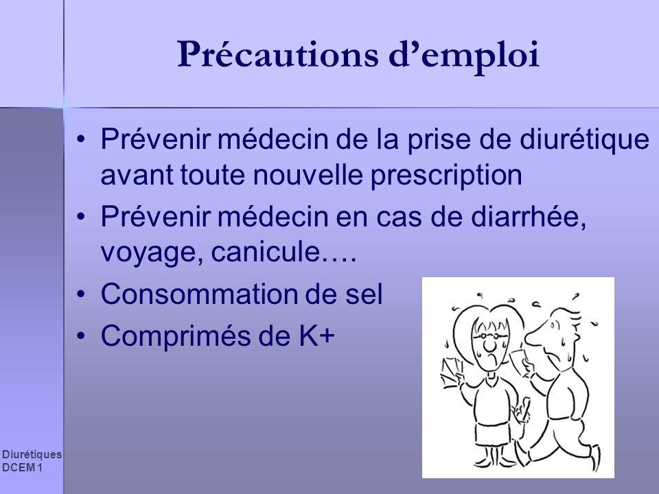Diurétiques DCEM 1 Précautions demploi Prévenir médecin de la prise de diurétique avant toute nouvelle prescription Prévenir médecin en cas de diarrhé