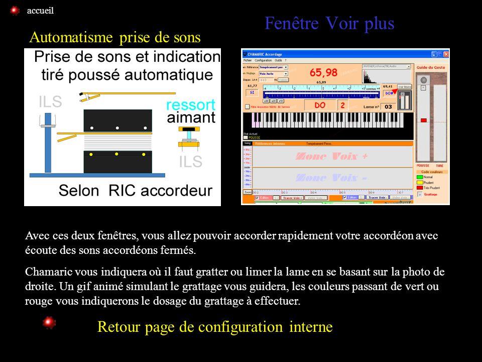 Prise de sons auto.suite voir plus Prise de sons suite Retour page de configuration interne Voir prise de sons automatique Pour configurer Chamaric av