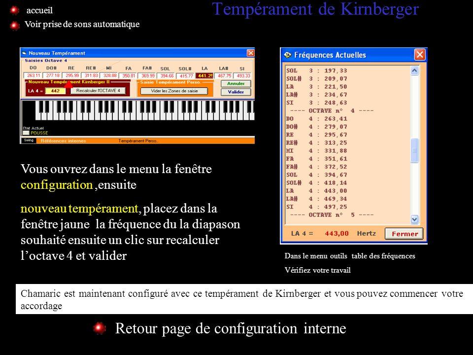 Tempérament de Bach Retour page de configuration interne Voir prise de sons automatique Validez un diapason, 443 sur cet exemple, la prise de sons est