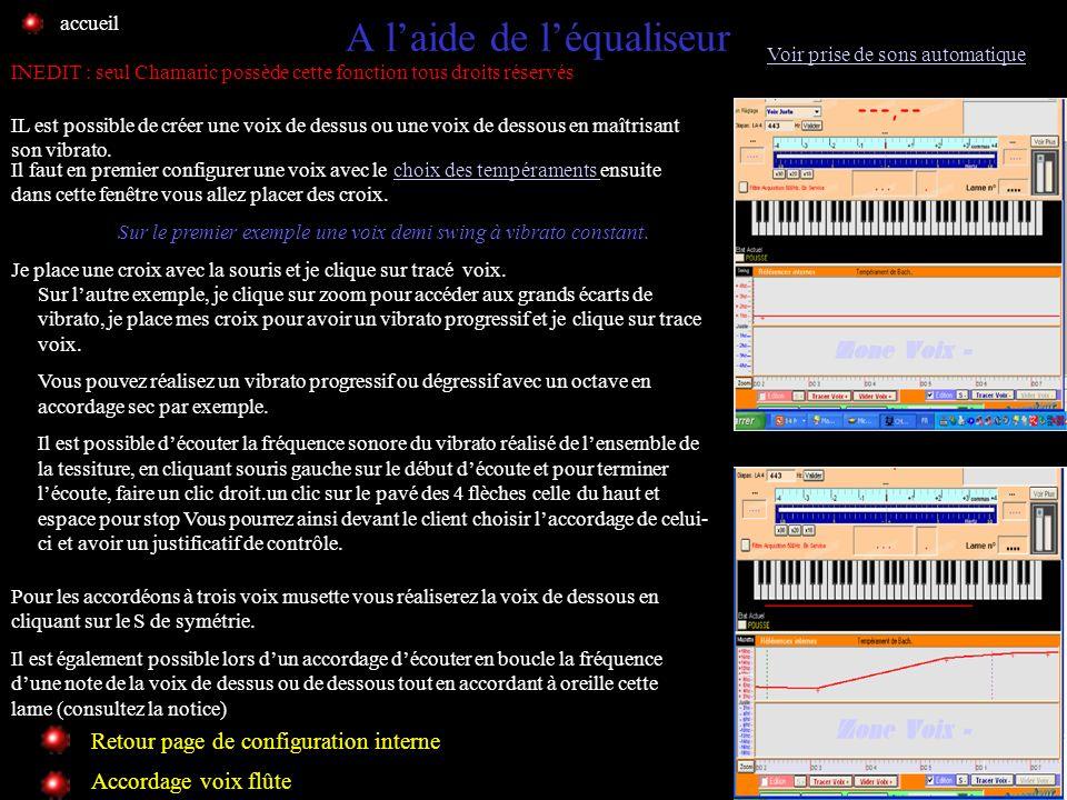 Tempérament Personnalisé Retour page de configuration interne Voir prise de sons automatique Pour configurer Chamaric avec une voix créer par léqualis