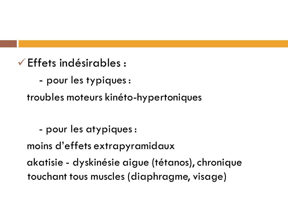 Effets indésirables : - pour les typiques : troubles moteurs kinéto-hypertoniques - pour les atypiques : moins deffets extrapyramidaux akatisie - dyskinésie aigue (tétanos), chronique touchant tous muscles (diaphragme, visage)