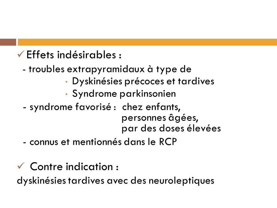 Effets indésirables : - troubles extrapyramidaux à type de Dyskinésies précoces et tardives Syndrome parkinsonien - syndrome favorisé : chez enfants, personnes âgées, par des doses élevées - connus et mentionnés dans le RCP Contre indication : dyskinésies tardives avec des neuroleptiques
