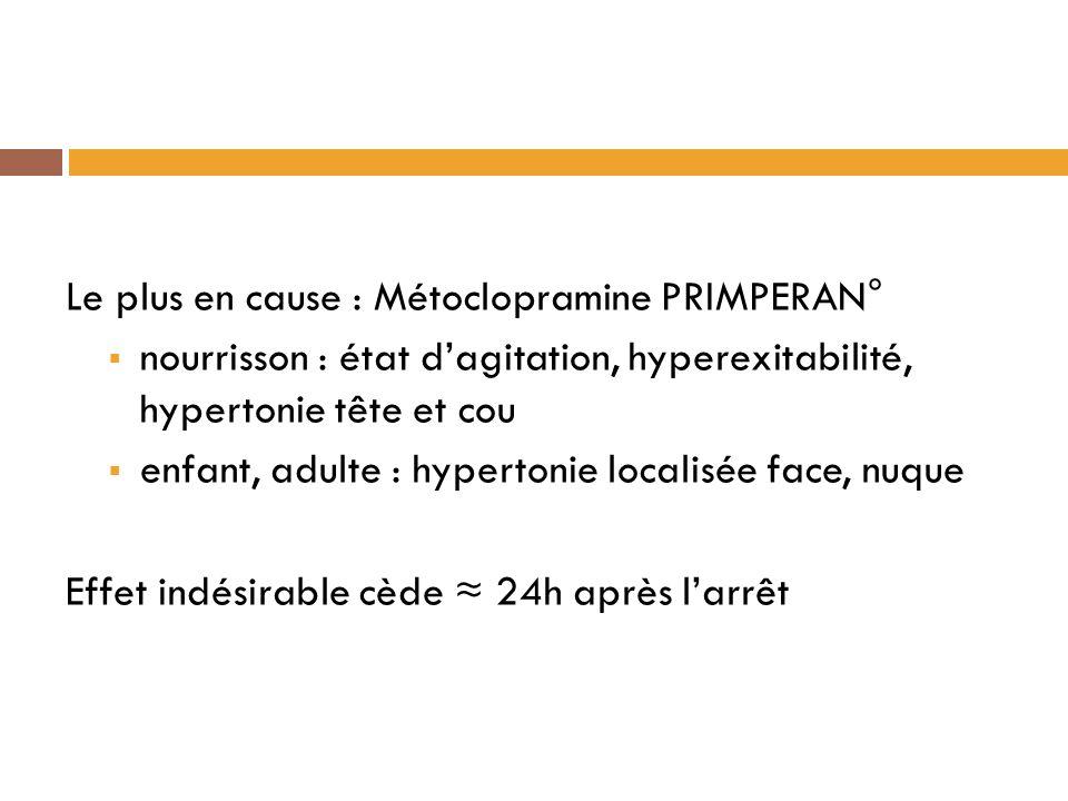 Le plus en cause : Métoclopramine PRIMPERAN° nourrisson : état dagitation, hyperexitabilité, hypertonie tête et cou enfant, adulte : hypertonie localisée face, nuque Effet indésirable cède 24h après larrêt