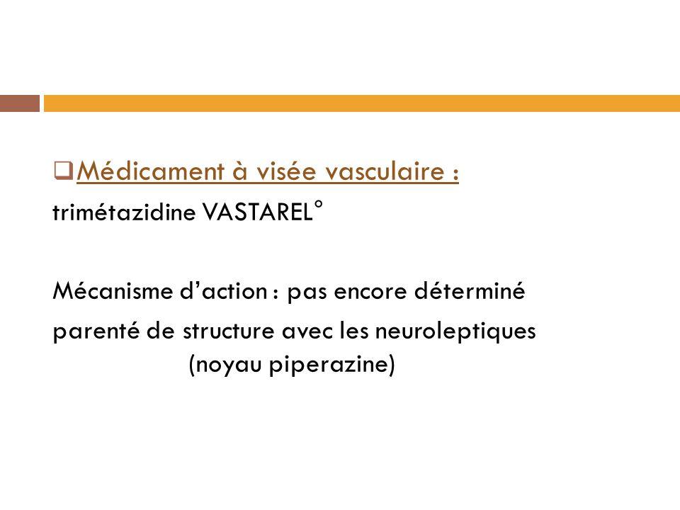 Médicament à visée vasculaire : trimétazidine VASTAREL° Mécanisme daction : pas encore déterminé parenté de structure avec les neuroleptiques (noyau piperazine)