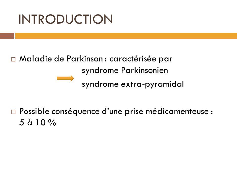 INTRODUCTION Maladie de Parkinson : caractérisée par syndrome Parkinsonien syndrome extra-pyramidal Possible conséquence dune prise médicamenteuse : 5 à 10 %