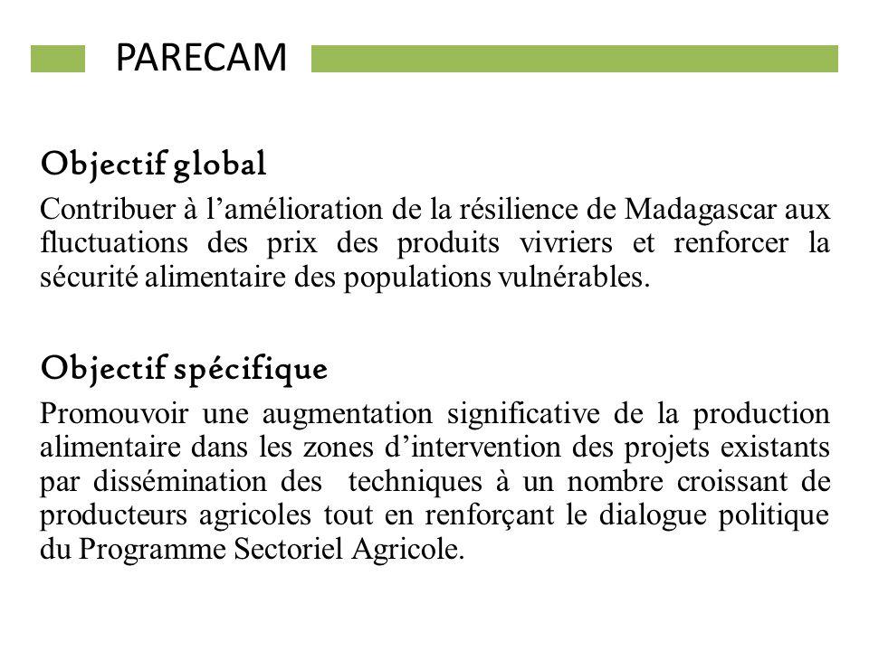 Objectif global Contribuer à lamélioration de la résilience de Madagascar aux fluctuations des prix des produits vivriers et renforcer la sécurité ali