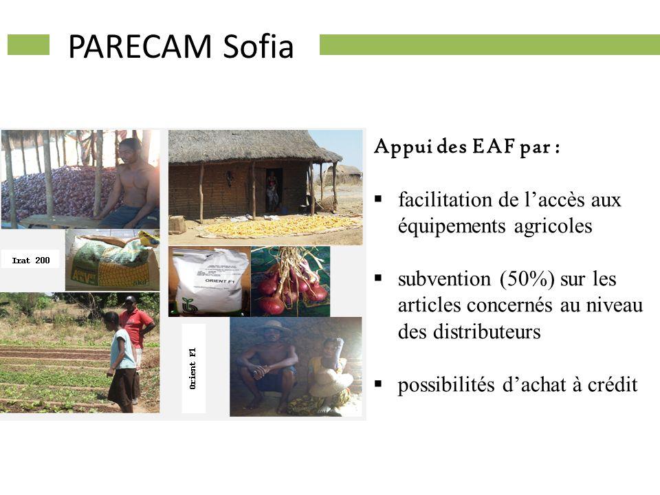 PARECAM Sofia Appui des EAF par : facilitation de laccès aux équipements agricoles subvention (50%) sur les articles concernés au niveau des distribut