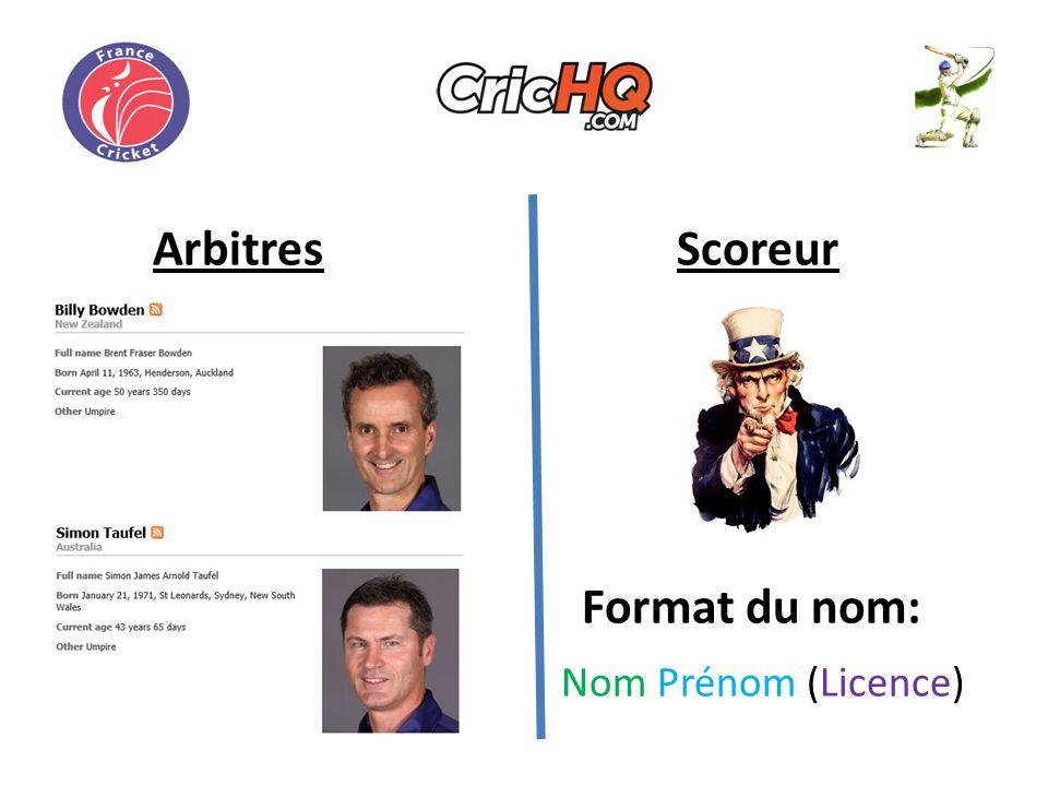 ArbitresScoreur Format du nom: Nom Prénom (Licence)