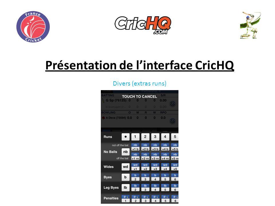 Présentation de linterface CricHQ Divers (extras runs)