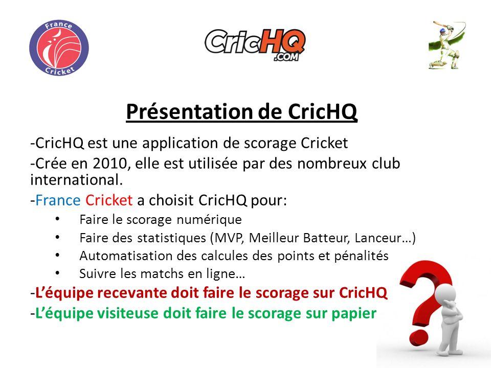 Présentation de CricHQ -CricHQ est une application de scorage Cricket -Crée en 2010, elle est utilisée par des nombreux club international.