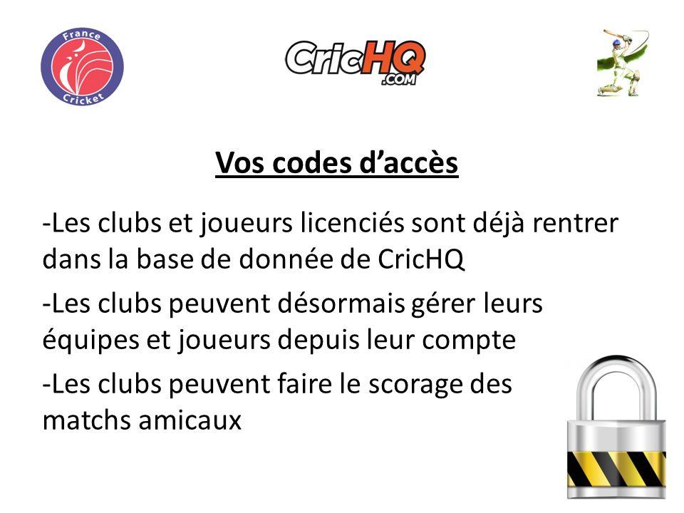 Vos codes daccès -Les clubs et joueurs licenciés sont déjà rentrer dans la base de donnée de CricHQ -Les clubs peuvent désormais gérer leurs équipes et joueurs depuis leur compte -Les clubs peuvent faire le scorage des matchs amicaux