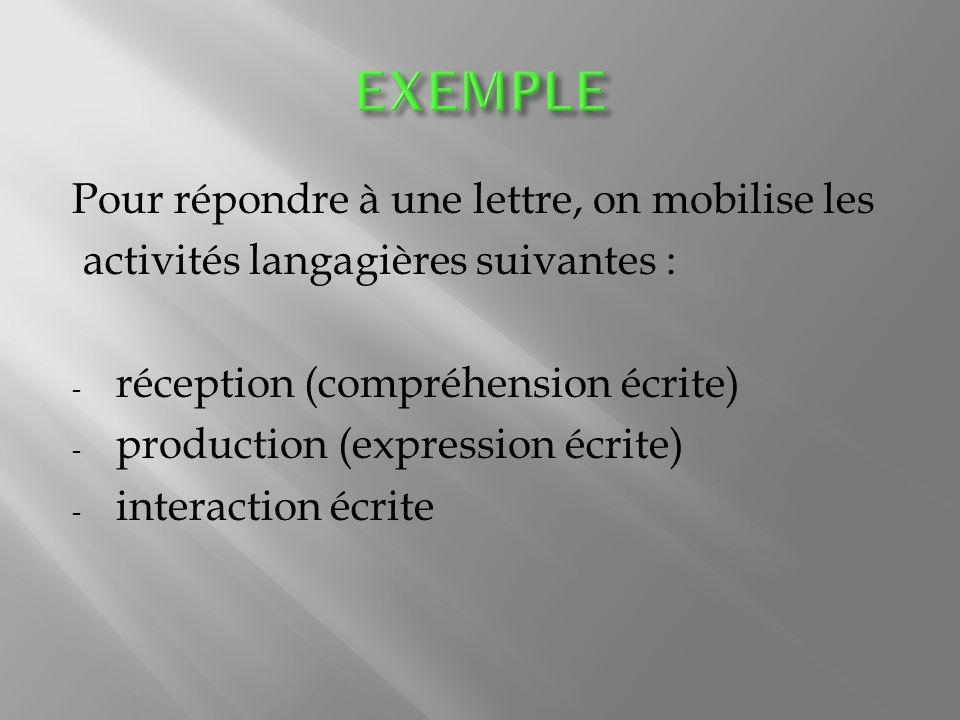 Pour répondre à une lettre, on mobilise les activités langagières suivantes : - réception (compréhension écrite) - production (expression écrite) - interaction écrite