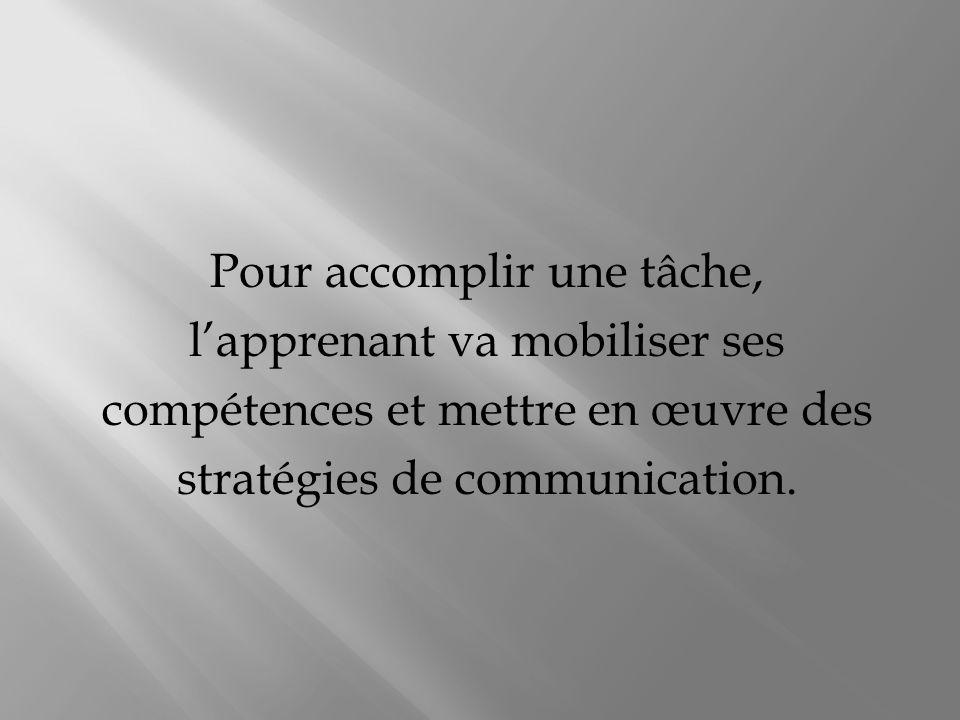 Pour accomplir une tâche, lapprenant va mobiliser ses compétences et mettre en œuvre des stratégies de communication.