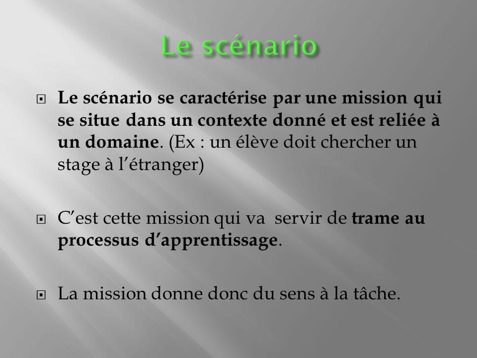 Le scénario se caractérise par une mission qui se situe dans un contexte donné et est reliée à un domaine.