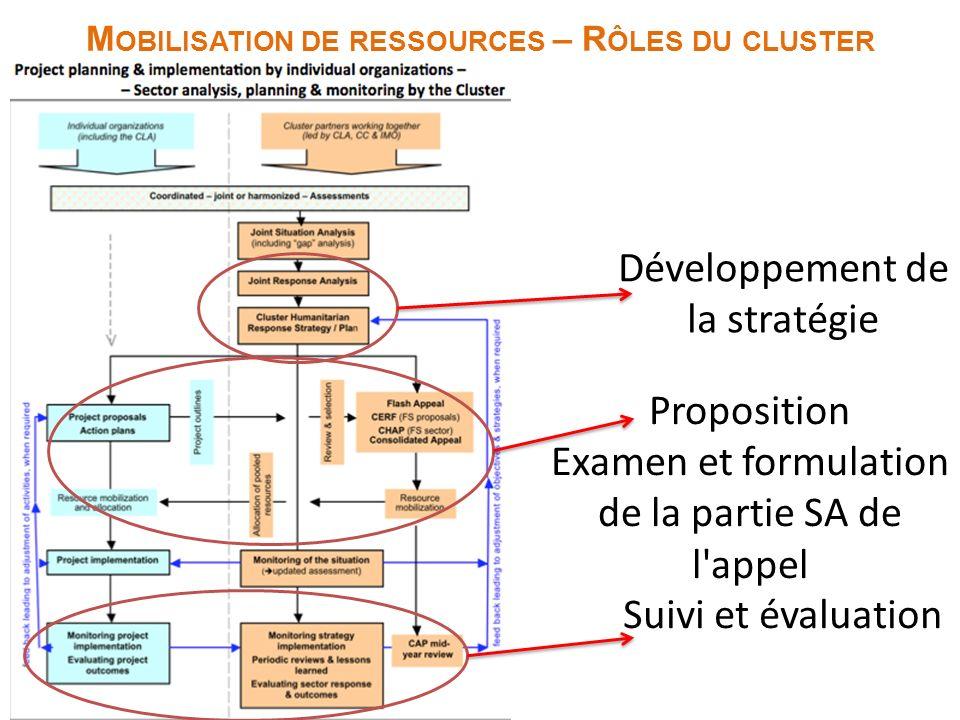 Programme d intervention M OBILISATION DE RESSOURCES – R ÔLES DU CLUSTER Proposition Examen et formulation de la partie SA de l appel Suivi et évaluation Développement de la stratégie