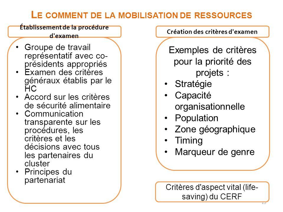 15 L E COMMENT DE LA MOBILISATION DE RESSOURCES Exemples de critères pour la priorité des projets : Stratégie Capacité organisationnelle Population Zo