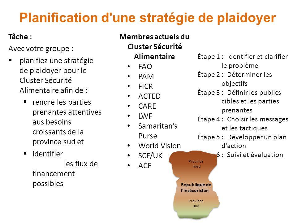 Planification d une stratégie de plaidoyer Tâche : Avec votre groupe : planifiez une stratégie de plaidoyer pour le Cluster Sécurité Alimentaire afin de : rendre les parties prenantes attentives aus besoins croissants de la province sud et identifier les flux de financement possibles Membres actuels du Cluster Sécurité Alimentaire FAO PAM FICR ACTED CARE LWF Samaritans Purse World Vision SCF/UK ACF Étape 1 : Identifier et clarifier le problème Étape 2 : Déterminer les objectifs Étape 3 : Définir les publics cibles et les parties prenantes Étape 4 : Choisir les messages et les tactiques Étape 5 : Développer un plan d action Étape 6 : Suivi et évaluation Province nord République de l Insécuristan Province sud
